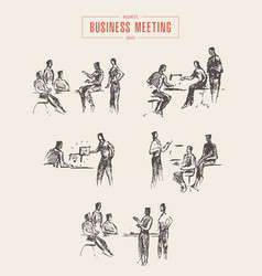 Set people sketches business meeting office vector