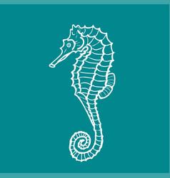 Silhouette of seahorse hippocampus vector