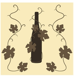 Silhouette wine and grape leaves vector