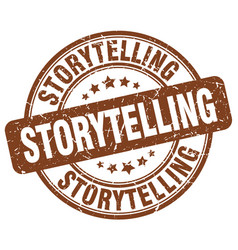 Storytelling brown grunge stamp vector