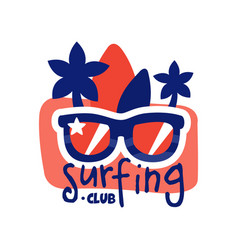 Surfing club logo surf retro badge with vector