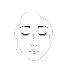 the girl face is created by black lines elegant vector image