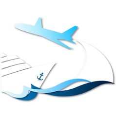 Travel by ship and airplane vector