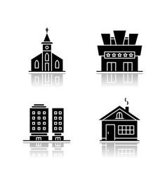 Urban buildings drop shadow black glyph icons set vector