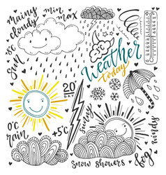 Weather doodles icon set hand drawn sketch with vector