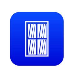 white latticed rectangle window icon digital blue vector image