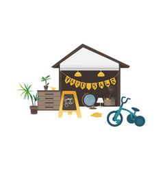 Yard or garage sale banner with household and vector