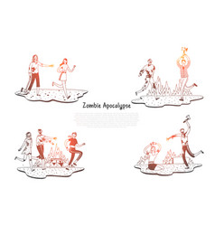 zombie apocalypse - zombies scarying and vector image