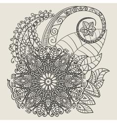 Ethnic Mehndi Tattoo Doodle Henna Paisley Flowers vector image