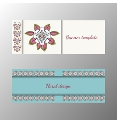 Floral pattern horizontal banner collection vector image vector image