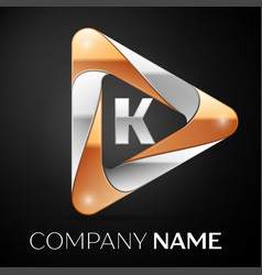 Letter k logo symbol in the colorful triangle on vector