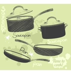 Pans and pots realistic set with frying pan vector image vector image