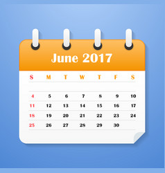 Usa calendar for june 2017 week starts on sunday vector