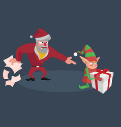 angry santa screams at the little elf with a gift vector image