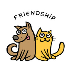 friendship dog kik and cat tik best friends vector image vector image