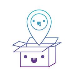 opened kawaii cardboard box with kawaii map vector image