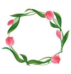 Postcard with a round frame of tulips vector image