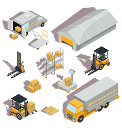 set of logistic and delivery isometric vector image