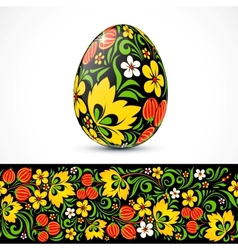 Traditional ornate easter eggs sticker design vector image