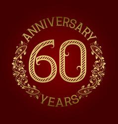 golden emblem of sixtieth anniversary vector image