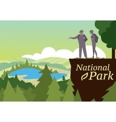 Hikers walking in outdoor vector image vector image