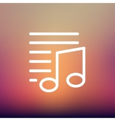 Musical note with lines thin line icon vector image