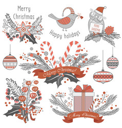 new year and christmas decoration set of gifts vector image