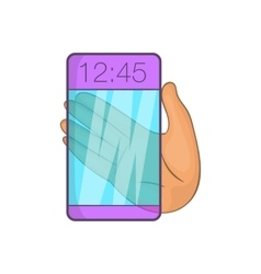 Transparent smartphone icon cartoon style vector image