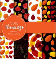 autumn leaves seamless pattern collection set vector image vector image