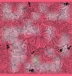 doodle seamless pattern pink colored vector image vector image