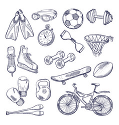 doodle set of sport equipment hand drawn vector image