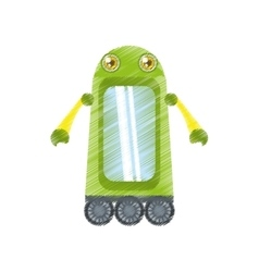 drawing green robot technology innovation vector image vector image