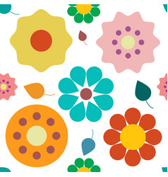 flowers seamless pattern colorful retro plant vector image