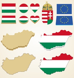 Hungary map flag 3D pack vector image vector image