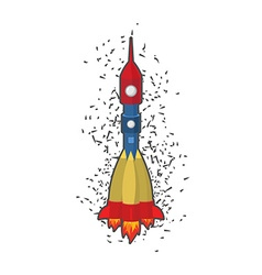 Rocket space ship on a white background vector image
