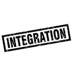 Square grunge black integration stamp vector