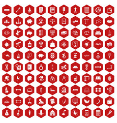 100 balance icons hexagon red vector