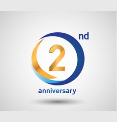 2 anniversary design with blue and golden circle vector