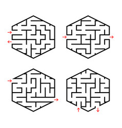 a set of abstract labyrinths for children simple vector image