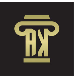 Ak logo monogram with pillar style design vector
