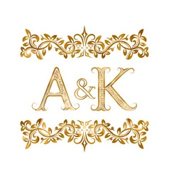 AK vintage initials logo symbol Letters A K vector