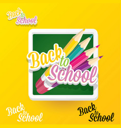 Back to school label with text and pencil vector