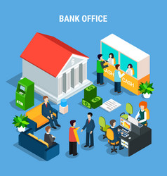 banking office isometric composition vector image