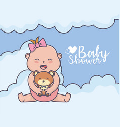 bashower little girl with teddy bear clouds vector image