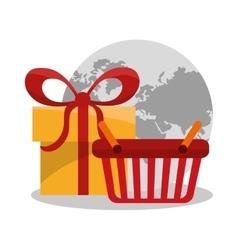 Basket gift and digital marketing design vector