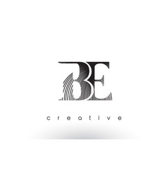 Be logo design with multiple lines and black vector
