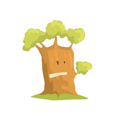 big humanized tree with emotional face natural vector image