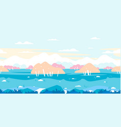 birch trees game background flat landscape vector image