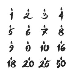 birthday candles numbers set vector image