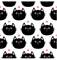 Black cat head with little pink heart cute vector